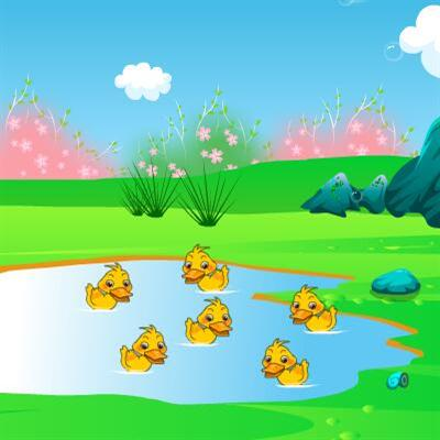 池塘里有几只小鸭子